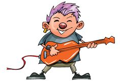 Cute cartoon punk rocker with guitar Royalty Free Stock Image