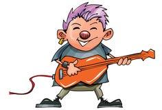 Cute cartoon punk rocker with guitar Royalty Free Stock Image