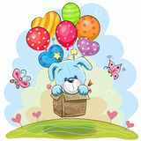 Cute Cartoon Puppy with balloons royalty free illustration