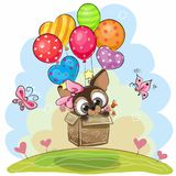 Cute Puppy in the box is flying on balloons stock illustration