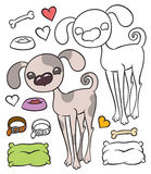 Cute cartoon puppy dog and things Stock Images