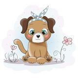 Cute cartoon puppy girl with a bandana on flower field. This is perfect for children, can be used as invitation birthday party, posters, backgrounds royalty free illustration