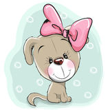 Cute Cartoon Puppy. With pink bow on a blue background stock illustration