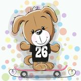 Cute Cartoon Puppy with skateboard Royalty Free Stock Photo