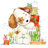 Cute cartoon puppy watercolor illustration.  Dog year greeting card. Royalty Free Stock Image