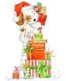 Cute cartoon puppy watercolor illustration.  Dog year greeting card. Stock Photo
