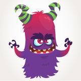 Cute cartoon purple horned monster . Halloween vector flying monster mascot  Royalty Free Stock Photo
