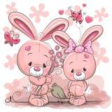 Two Rabbits. Cute Cartoon Rabbit boy and girl and bird Royalty Free Stock Photos