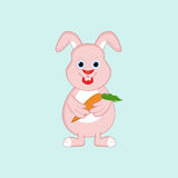 Cute cartoon of a rabbit with carrot. Stock Photo
