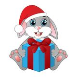 Cute cartoon rabbit with a gift box Stock Image
