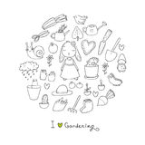 Cute cartoon rabbit girl and Set of garden objects. Plants, pots and tools for gardening. Royalty Free Stock Photo