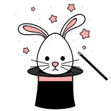 Cute cartoon rabbit in magic hat funny illustration Royalty Free Stock Images