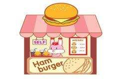 Cute cartoon rabbit selling hamburgers. Illustration royalty free illustration