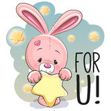 Cute Cartoon Rabbit. With star on the stars background Royalty Free Stock Photo