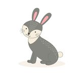 Cute cartoon rabbit  on white background. Vector illustration Stock Photography