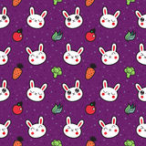 Cute cartoon rabbits seamless vector pattern Stock Photo