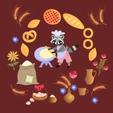 Cute cartoon raccoon baker with dough and rolling pin. Card, poster.  Frame made of wheat, sunflowers, bouquet of cornflowers, muffins, pies, cakes Royalty Free Stock Photography