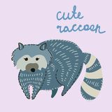 Cute cartoon raccoon Stock Image