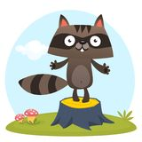 Cute cartoon raccoon character standing on a tree stump in the meadow. Vector illustration. stock illustration