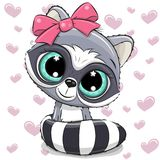 Cartoon Raccoon on a Hearts background. Cute Cartoon Raccoon girl on a hearts background royalty free illustration