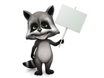 Cute cartoon raccoon holding blank sign. A furry cute raccoon with a big smile holding a blank sign in its hand. White background Royalty Free Stock Photography