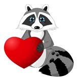 Cute cartoon raccoon holding heart. Valentine`s Day illustration Royalty Free Stock Photos