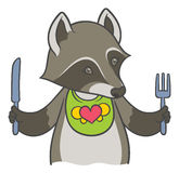 Cute cartoon raccoon holding a knife and fork Royalty Free Stock Photography