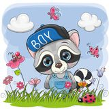 Cute Cartoon Raccoon on a meadow. With flowers and butterflies royalty free illustration