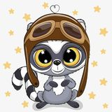 Cute cartoon Raccoon in a pilot hat. On a stars background vector illustration