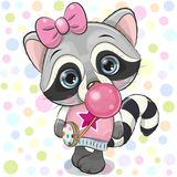 Cute Cartoon Raccoon with bubble gum. Cute Cartoon Raccoon in a pink hat with bubble gum royalty free illustration