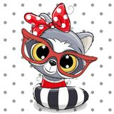 Cute Cartoon Raccoon with red glasses stock illustration