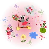 Cute cartoon raccoon riding by homemade scooter with bouquet as a gift. Stock Photos