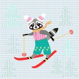 Cute cartoon raccoon on skiing in the forest. Winter knitted pattern. Christmas background. Greeting card. Patchwork Stock Images