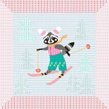 Cute cartoon raccoon on skiing in the forest. Winter knitted pattern. With original frame. Christmas background. Greeting card Royalty Free Stock Photography