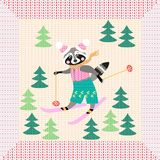 Cute cartoon raccoon on skiing in the forest. Winter knitted pattern with unusual frame. Christmas background. Greeting card Royalty Free Stock Image