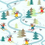 Cute cartoon raccoons on skiing in the forest. Winter seamless pattern. Christmas background Royalty Free Stock Photo