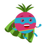 Cute cartoon radish superhero in mask and green cape, colorful humanized vegetable character  Illustration Stock Image