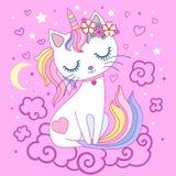 Cute, cartoon, rainbow cat unicorn on a pink background. Vector