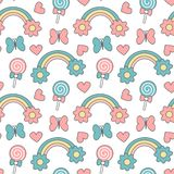Cute cartoon rainbows with daisy flowers, lollipops, hearts and butterflies seamless pattern vector background illustration stock illustration