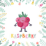 Cute cartoon raspberry illustration with flowers and lettering. Stock Images