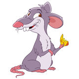 Cute cartoon rat. Cute and happy cartoon rat with a hunk of cheese Stock Photography