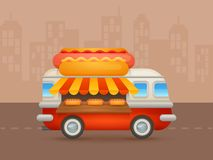 Cute cartoon realistic hot-dog van Stock Image