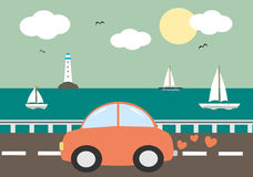 Cute cartoon red car driving on sea background illustration Royalty Free Stock Photo