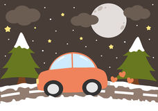 Cute cartoon red car driving in a winter night funny illustration Royalty Free Stock Photography