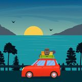 Cute cartoon red car with surfboard and suitcases on road with sea, sun and mountains behind. Family trip by car. Vector flat illu vector illustration