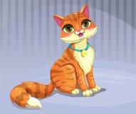 Cute cartoon red cat. Sitting on the floor. Vector illustration Stock Photo