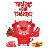 Cute cartoon red devil character. Trick or treat card. Vector illustration Stock Photography