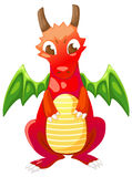 Cute cartoon red dragon. Isolated on white background vector Royalty Free Stock Image
