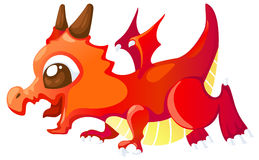 Cute cartoon red dragon. Isolated on white background vector Royalty Free Stock Images