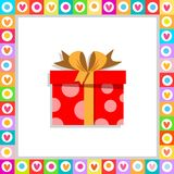 Cute cartoon red gift box wrapped with festive bow framed with heart frame isolated vector illustration